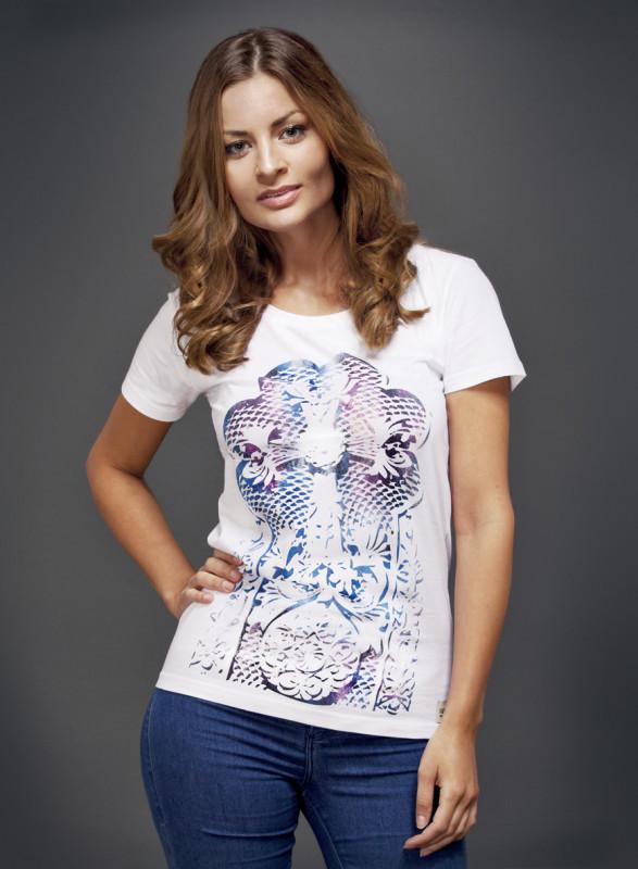 Cross Stone T-Shirt mit U-Ausschnitt